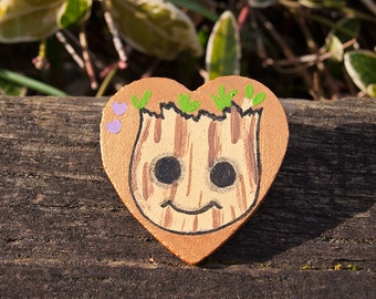 Marvel Baby Groot Guardians Of The Galaxy Infinity War Funko Pop - Custom Hand Painted Wooden Pin - Cute Adorable Badge Button Gift