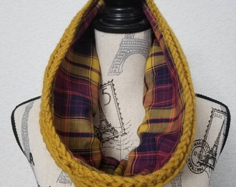 Mustard crocheted cowl with purple plaid lining