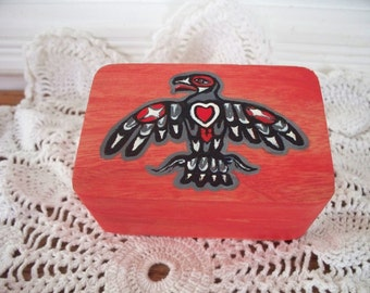 Red-Orange Wooden Box Native American Eagle Wood Burned And Hand Painted