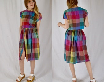 Xs/S 1970s Plaid Skirt and Crop Top Two Piece Set