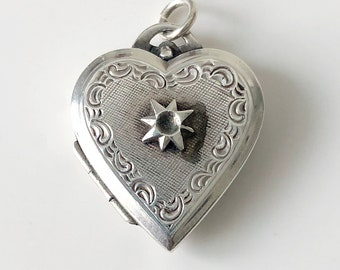Petite Heart Shaped Locket Sterling Silver Vintage Locket Miniature Heart Keepsake Locket