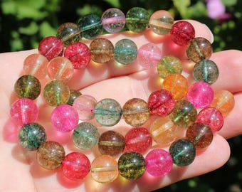 4 ROUND 10 MM MULTICOLOR TOURMALINE BEADS.