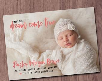 Modern Birth Announcement Baby Girl Announcement Baby Boy Announcement Dream Come True Modern Photo Card Printable Birth Announcement Cards