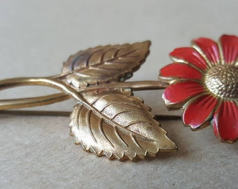 Vintage Flower Brooch Red Daisy Flower Repousse Moulded Metal Brooch