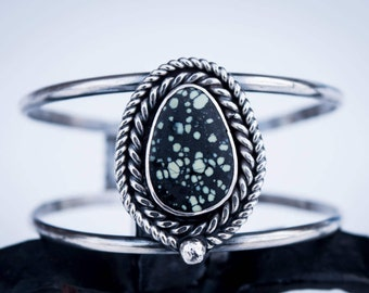 New Lander Turquoise Persephone Cuff in Silver OOAK Nevada