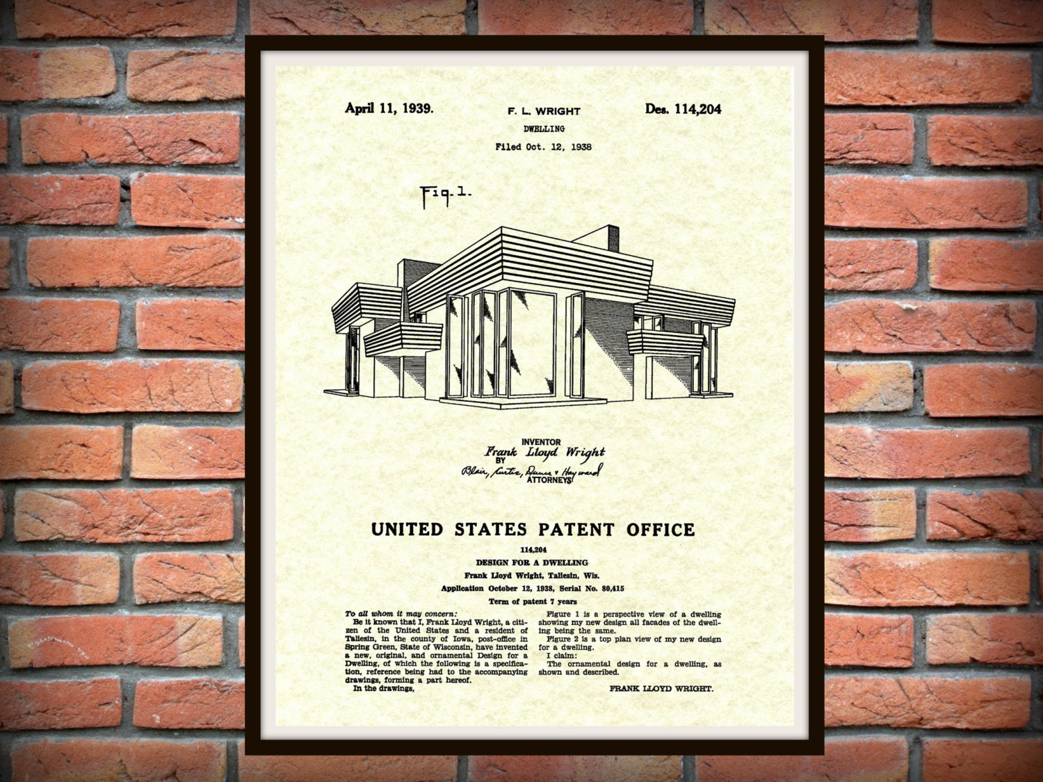 Patent 1939 Frank Lloyd Wright House Architecture - Dwelling Art Print - Poster Print - Wall Art - Engineering Design  sc 1 st  Blue Moon Patent Prints u0026 Drawings & Patent 1939 Frank Lloyd Wright House Architecture - Dwelling Art ...