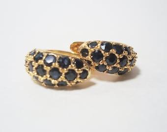 Vermeil Sterling Silver Hoop Earrings with Sapphires