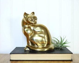Brass Cat, Vintage Cat Figurine, Brass Accents, Cat Lovers Gifts for Her, Kitten Statue, Brass Decor, Organic Decor, Glam Animal Decor