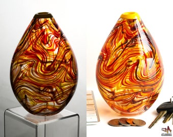 Small Hand Blown Glass Bud Vase - Egg Shape with Hot Color Swirls