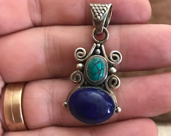 Vintage Lapis and Turquoise Pendant