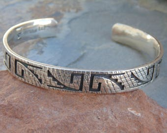 Marvin Lucas and Effie Tawahongva - Hopi Sterling Silver Corn Themed Overlay Cuff Bracelet