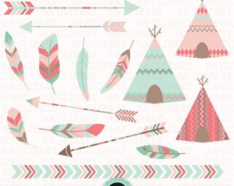 """Tribal Clipart """"TRIBAL TEEPEE TENTS """"clip art pack Arrows,Borders,Tribal Feathers,AztecArrow,Indian,Teepee clip art,Instant Download Trb001b"""
