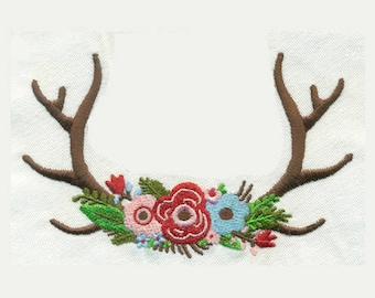 """5.01""""W Large Antlers with Flowers Embroidery Design - Instant Digital Download"""