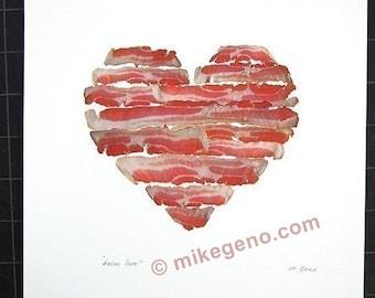 BACON LOVE - archival print of original luscious bacon design
