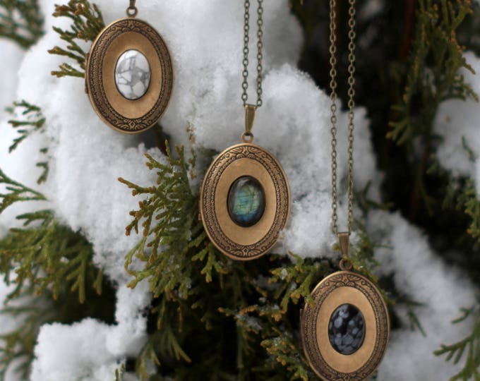 Featured listing image: EYRIE Brass + Gemstone Perfume Locket Necklace