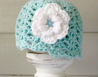 Crochet Fancy Beanie with Large Flower, Infant Flapper Hat, Newborn to 12-24 Months - Made to Order