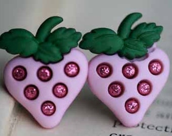 Pink Strawberry Shortcake Stud Post Earrings