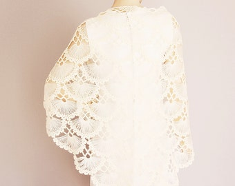 Ivory Bridesmaid gift ,crochet shawl scarf, Wedding gift ,  CHOOSE A COLOR