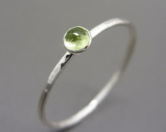 3mm Tiny Rose Cut Peridot Stacking Ring in Sterling Silver - Super Thin Micro Band, Smooth or Hammered - August Birthstone Stacking Ring