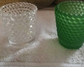 2 Hobnail Votive  candle holders- 1 Dark green - 1 Clear