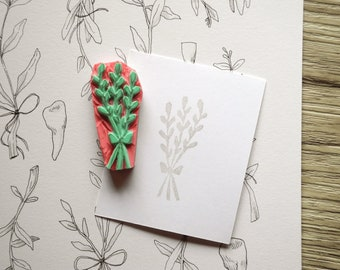 Bouquet! Rubber Stamp - hand carved rubber stamp