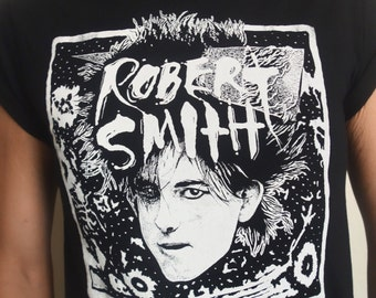 Robert Smith of the Cure Hand Screen-Printed T-Shirt