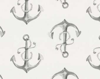 Gray Watercolor Anchors Organic Fabric - By The Yard - Gender Neutral / Modern / Fabric