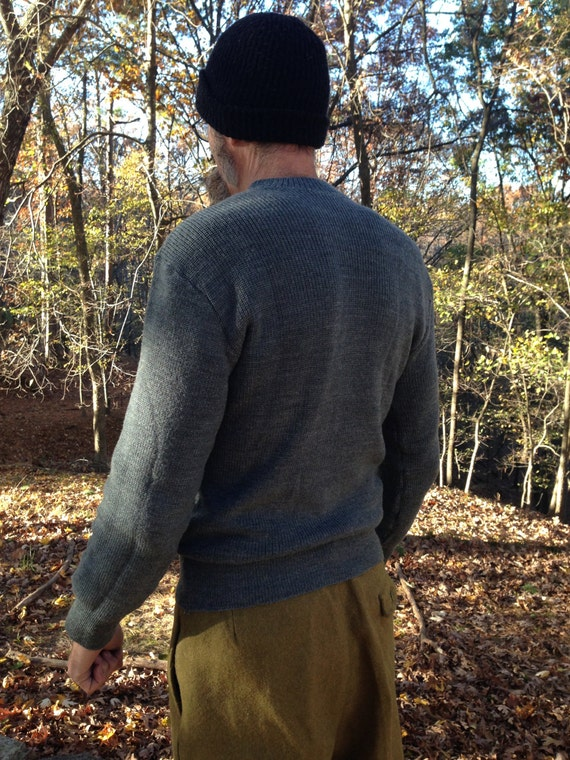 Vintage 1950's Swiss Military Wool Sweater / Crew Neck / Grey Gray / Available in sizes: M, M/L, L
