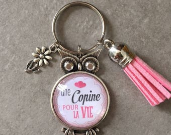 Girl - OWL key ring 25mm glass cabochon