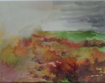 Framed watercolour of Dartmoor
