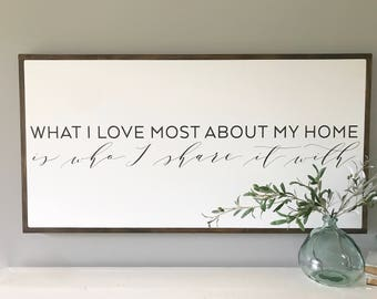 """What I Love Most About My Home Sign 24x48"""""""