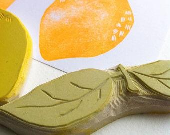Zitrone-Stempel-Set, handgeschnitzte Stempel, handgefertigte Stempel-set