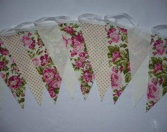 "10 Foot Pretty Pink / Cream - Wedding / Celebration Fabric Bunting ""Anna"""