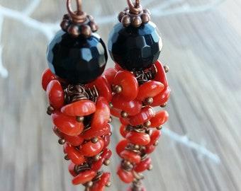 Red coral earrings Cluster earrings Gift for her Gift for women Gift for mom Long earrings Black Red earrings Beaded earrings Coral jewelry