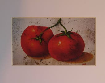 "Red Ripe Tomato Print, 5"" X 7"", Vintage Look"