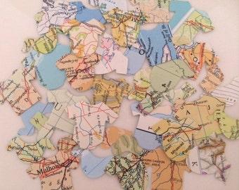 Map Paper Baby Shower Confetti, Baby Shower Decor, Onesie Confetti , 100 pieces - Handmade