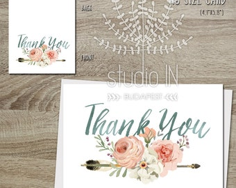 Thank you cards etsy thank you card floral and arrow thank you card flower stationery wedding thank m4hsunfo Image collections