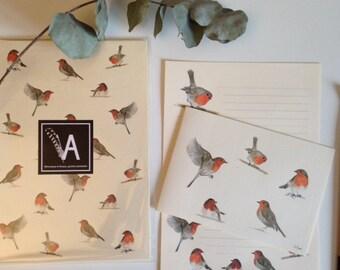 Robin watercolor stationery set