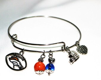 Denver Broncos Football with Team Colors, Broncos Bracelet or Broncos Keychain, Gift Sets for Women, Denver Broncos Gifts, Stainless Steel