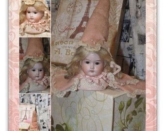 Adorable~ Unusual~ Antique German Bisque Armand Marseille French Style Doll Head w/ Hat & Cape Vanity Pin Cushion Half Doll