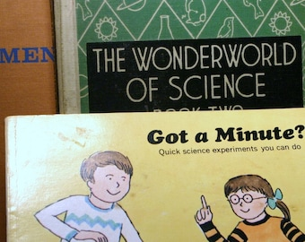 SET Vintage Childrens Book - Science Quick Science Old Ephemera Paper Experiments Great for Kids 50s 60s 70s School Learning Educational