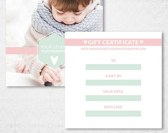 Photography Gift Card Certificate Template - Photographer Gift Flyer Voucher Card - Photoshop Marketing Design - SF001 - instant download