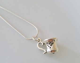 Tea or Coffee Cup Charm Necklace with Silver-plated Chain, Cute gift for her, tea/coffee cup pendant with heart design, Valentine's day