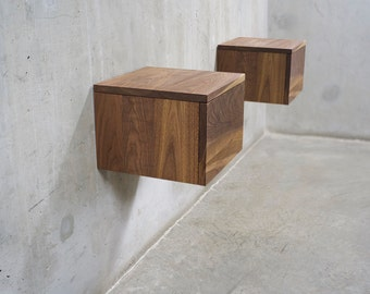 Pair of Solid Black Walnut Floating Wall-Mount Nightstand/ Bedside Table with Drawer *