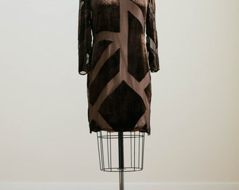 Vintage Designer Brown Silk Chiffon with Velvet Burnout Sheer Shift Dress by Bill Blass