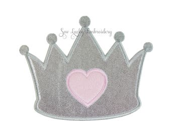 Princess Crown with Heart Applique Embroidered Patch, Sew or Iron on