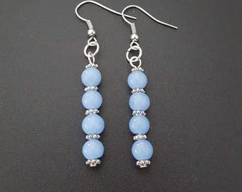 Periwinkle beaded dangle earrings with silver detail