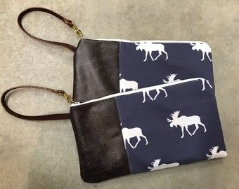 Genuine Leather and Cotton Wristlet/Clutch - Moose