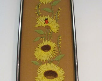 Vintage Crewelwork Floral Wall Art With Ladybug