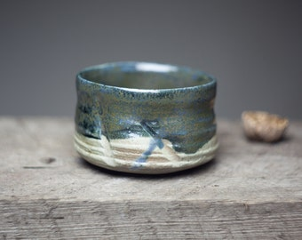 Wood fired tea cup, stoneware dark glazed ceramic pottery tea bowl